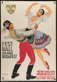 2t118 FESTBALL DER STADT BUDAPEST German 33x47 1938 colorful art of Hungarian dancing couple!
