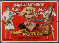 2t034 SOME LIKE IT HOT linen German 33x47 1959 sexy Marilyn Monroe, Tony Curtis & Jack Lemmon, rare!
