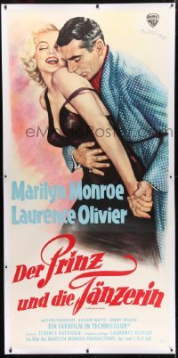 2t029 PRINCE & THE SHOWGIRL linen German 31x71 1957 Wendt art of Olivier nuzzling Marilyn Monroe!