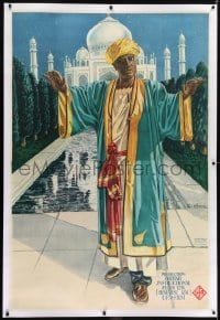 2t030 SHIRAZ linen German 38x56 1928 great art of blind Himansu Rai in front of the Taj Mahal!