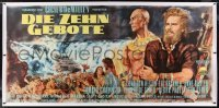 2t031 TEN COMMANDMENTS linen German 34x71 1958 Goetze art of Charlton Heston parting the red sea!