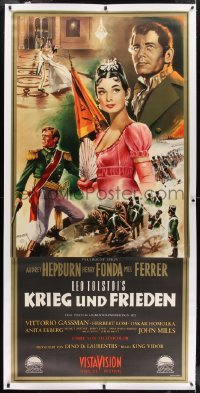 2t032 WAR & PEACE linen German 33x69 1957 Audrey Hepburn, Fonda, Ferrer, great Peltzer art, rare!