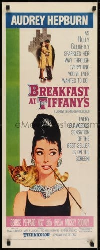 2t178 BREAKFAST AT TIFFANY'S insert 1961 classic McGinnis art of sexy elegant Audrey Hepburn & cat!