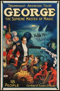 2t372 GEORGE THE SUPREME MASTER OF MAGIC 27x41 magic poster 1920s Egypt, devils, cards and more!