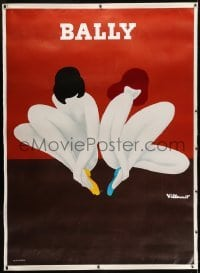 2t083 BALLY linen 46x63 French advertising poster 1980 Villemot art of naked women with only shoes!