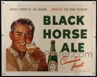 2t085 BLACK HORSE ALE linen 46x59 advertising poster 1950s brewed north of the border in Canada!