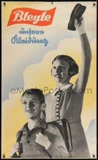 2t086 BLEYLE 31x51 German advertising poster 1930s boy & girl school kids modeling their clothes!