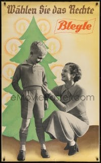 2t087 BLEYLE 31x51 German advertising poster 1930s family modeling clothes by Christmas tree!