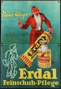 2t100 ERDAL 49x65 German advertising poster 1929 art of frog king mascot with shoe care products!