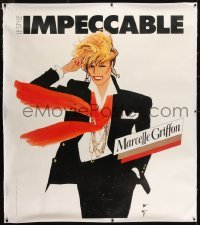 2t088 MARCELLE GRIFFON linen 48x55 French advertising poster 1980 Rene Gruau art of fashion model!