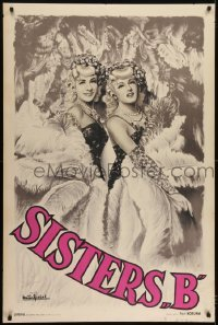 2t094 SISTERS B 32x47 French special poster 1930s Paul Koruna art of pretty blondes performing!
