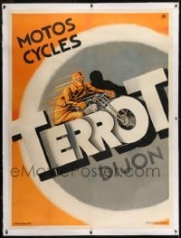 2t082 TERROT linen 46x62 French advertising poster 1920s cool Faye art of man riding motorcycle!