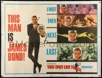 2t001 YOU ONLY LIVE TWICE linen subway poster 1967 art of Connery + scenes from previous 007 movies