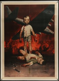 2t090 GINO BOCCASILE linen 39x55 Italian war poster 1944 toddlers injured by U.S. dropped pen bombs!