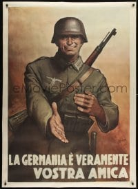 2t091 GINO BOCCASILE 39x55 Italian war poster 1944 friendly Nazi says Germany is truly your friend!