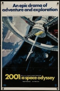 2w205 2001: A SPACE ODYSSEY style A 70mm 1sh 1968 Stanley Kubrick, art of space wheel by Bob McCall!