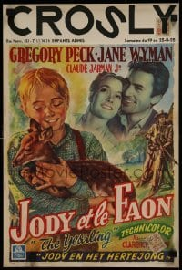2w082 YEARLING Belgian 1947 Gregory Peck, Jane Wyman, Claude Jarman Jr., classic, rare!