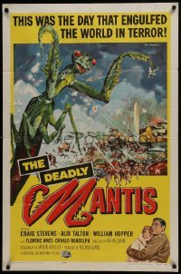 2w208 DEADLY MANTIS 1sh 1957 classic art of giant insect by Washington Monument by Ken Sawyer!