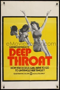 2w209 DEEP THROAT 25x38 1sh 1972 how far does Linda Lovelace have to go to untangle her tingle!