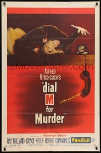 2w210 DIAL M FOR MURDER 1sh 1954 Alfred Hitchcock classic, attacked Grace Kelly reaches for phone!