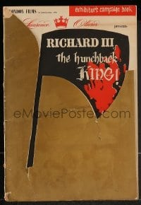 2w083 RICHARD III English pressbook 1954 star/director Laurence Olivier, rare country of origin!