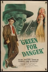 2w211 GREEN FOR DANGER 1sh 1947 art of Sally Gray, Alistair Sim & hypodermic needle, rare!