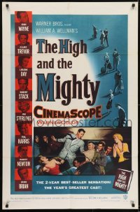 2w212 HIGH & THE MIGHTY 1sh 1954 John Wayne & Claire Trevor, William Wellman airplane disaster!