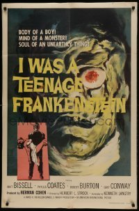 2w214 I WAS A TEENAGE FRANKENSTEIN 1sh 1957 wonderful close up art of monster + holding sexy girl!