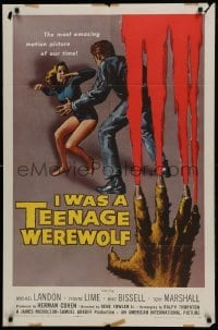 2w215 I WAS A TEENAGE WEREWOLF 1sh 1957 Kallis and Brown art of monster Landon attacking sexy babe!