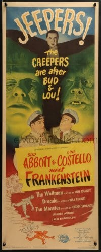 2w020 ABBOTT & COSTELLO MEET FRANKENSTEIN insert 1948 plus Wolfman & Dracula are after Bud & Lou!