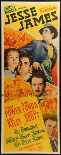 2w031 JESSE JAMES insert 1939 outlaw Tyrone Power, Henry Fonda, Randolph Scott, ultra rare!