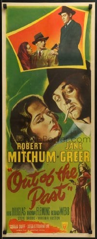 2w036 OUT OF THE PAST insert 1947 great art of smoking Robert Mitchum & Jane Greer + photo, rare!