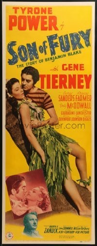 2w043 SON OF FURY insert 1942 Tyrone Power, sexy tropical Gene Tierney, Frances Farmer, ultra rare!