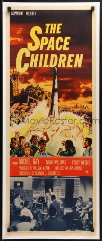 2w044 SPACE CHILDREN insert 1958 Jack Arnold, great art of kids, rocket & giant alien brain!