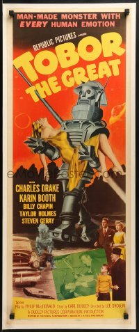 2w046 TOBOR THE GREAT insert 1954 man-made funky robot with human emotions holding sexy girl!
