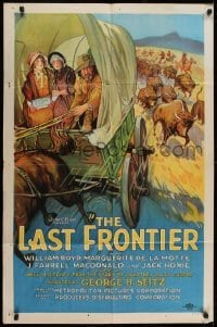 2w216 LAST FRONTIER style B 1sh 1926 stone litho of Jack Hoxie leaving buffalo stampede, very rare!