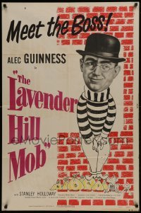 2w217 LAVENDER HILL MOB 1sh 1951 Charles Chrichton classic, wacky artwork of Alec Guinness!