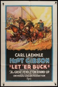 2w218 LET 'ER BUCK 1sh 1925 stone litho of Hoot Gibson in Great Pendleton Round-Up, ultra rare!