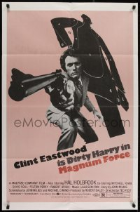 2w220 MAGNUM FORCE 1sh 1973 Clint Eastwood is Dirty Harry, different pink background & ultra rare!