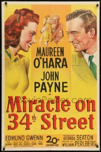 2w221 MIRACLE ON 34th STREET 1sh 1947 stone litho of Gwenn, Natalie Wood, Maureen O'Hara & Payne!