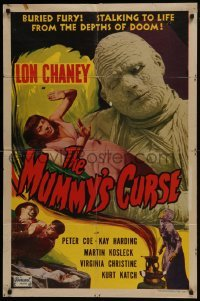 2w222 MUMMY'S CURSE 1sh R1951 best image of bandaged Lon Chaney Jr. menacing scared girl, rare!