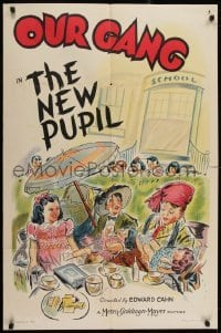 2w223 NEW PUPIL 1sh 1940 art of Alfalfa, Spanky & Darla having a tea party in the schoolyard!