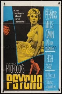2w224 PSYCHO 1sh 1960 sexy half-dressed Janet Leigh, Anthony Perkins, Alfred Hitchcock classic!