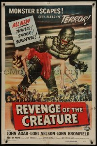 2w226 REVENGE OF THE CREATURE 1sh 1955 art of the monster holding sexy girl by Reynold Brown!
