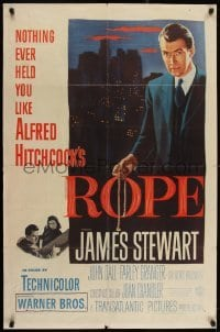 2w227 ROPE 1sh 1948 great image of James Stewart holding the rope, Alfred Hitchcock classic!