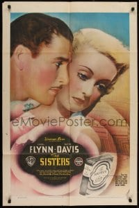 2w231 SISTERS 1sh 1938 Errol Flynn & Bette Davis have true love, but have many problems too, rare!