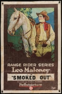 2w232 SMOKED OUT 25x39 1sh 1923 stone litho of cowboy Leo Maloney & horse, Range Rider Series!