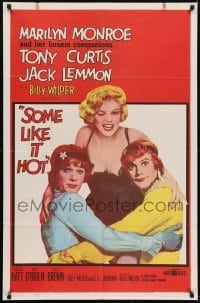 2w233 SOME LIKE IT HOT 1sh 1959 Marilyn Monroe w/Tony Curtis & Jack Lemmon in drag, 1959 copyright!