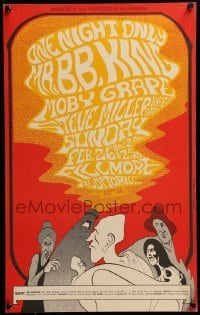 2w048 B.B. KING/MOBY GRAPE/STEVE MILLER BAND 1st printing 14x22 music poster 1967 John Myers art!