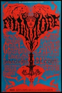 2w058 CHAMBERS BROTHERS/BEAUTIFUL DAY/ARTHUR BROWN/QUICKSILVER MESSENGER SERVICE 14x21 music poster 1968
